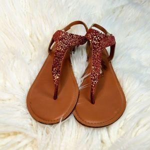Anthropologie Jasper & Jeera gold speckled sandals